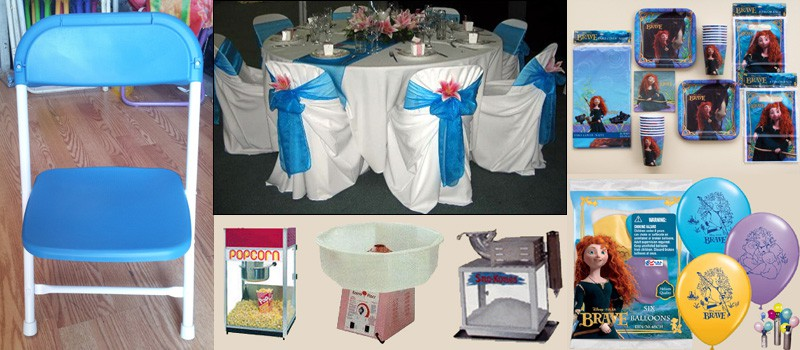 Tables, Chairs, Piñatas, Heaters, Balloons, Helium Tanks, Candy